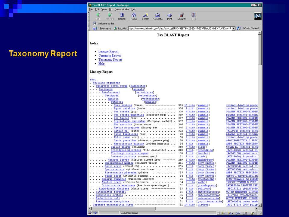 Taxonomy Report