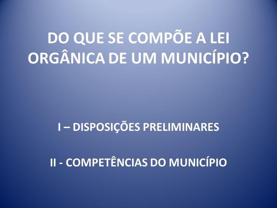 DO QUE SE COMPÕE A LEI ORGÂNICA DE UM MUNICÍPIO