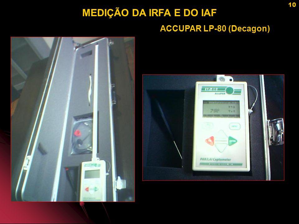 MEDIÇÃO DA IRFA E DO IAF ACCUPAR LP-80 (Decagon)