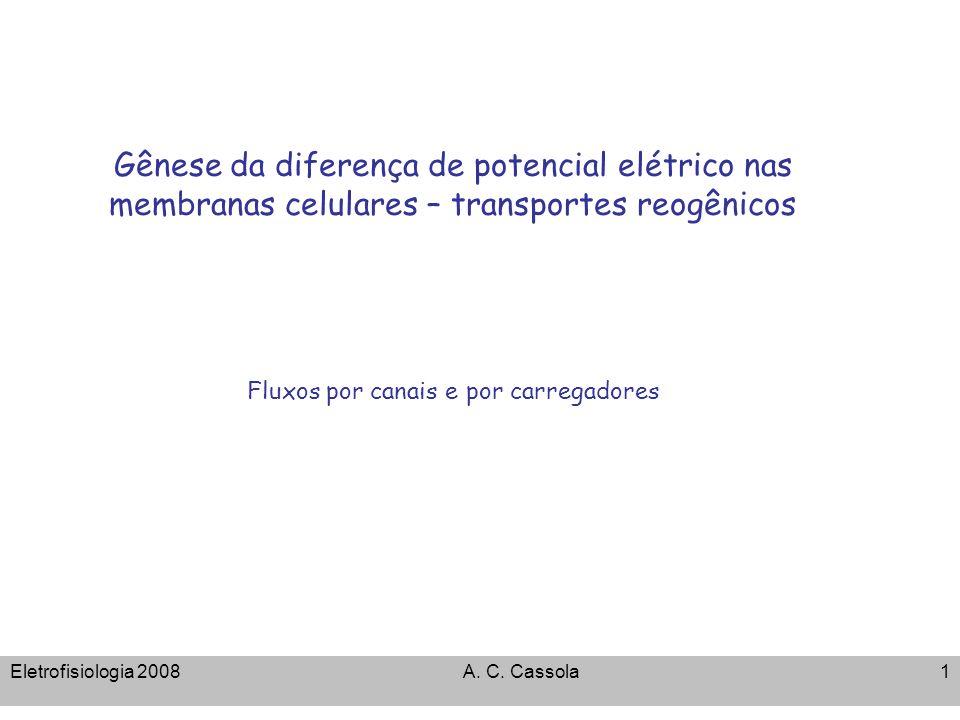 Gênese da diferença de potencial elétrico nas membranas celulares – transportes reogênicos Fluxos por canais e por carregadores