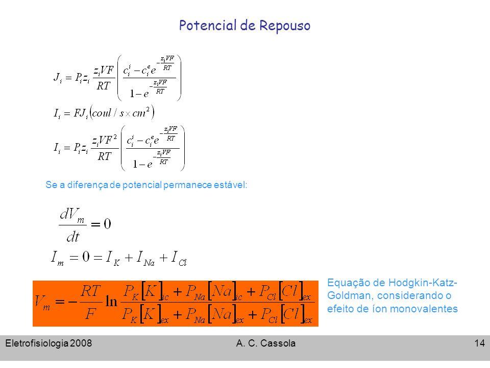 Potencial de Repouso Se a diferença de potencial permanece estável: Equação de Hodgkin-Katz-Goldman, considerando o efeito de íon monovalentes.