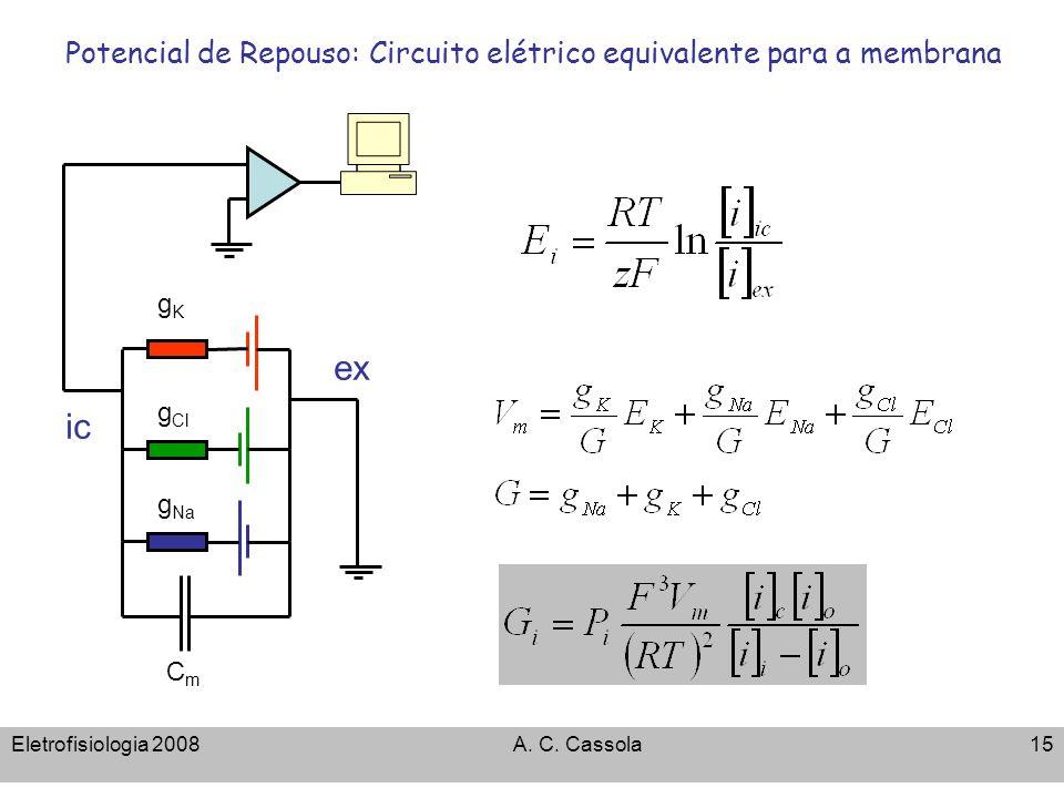 Potencial de Repouso: Circuito elétrico equivalente para a membrana