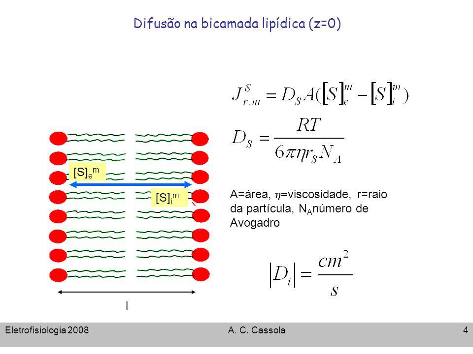 Difusão na bicamada lipídica (z=0)