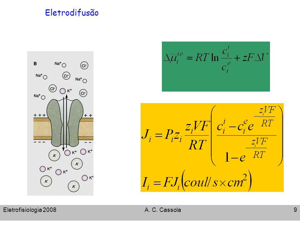 Eletrodifusão Eletrofisiologia 2008 A. C. Cassola