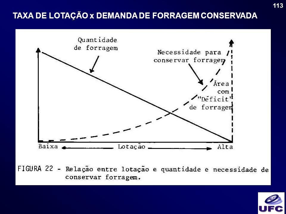 TAXA DE LOTAÇÃO x DEMANDA DE FORRAGEM CONSERVADA