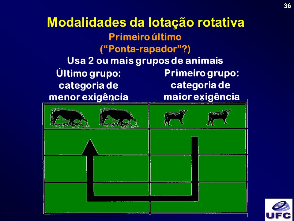 Modalidades da lotação rotativa Usa 2 ou mais grupos de animais