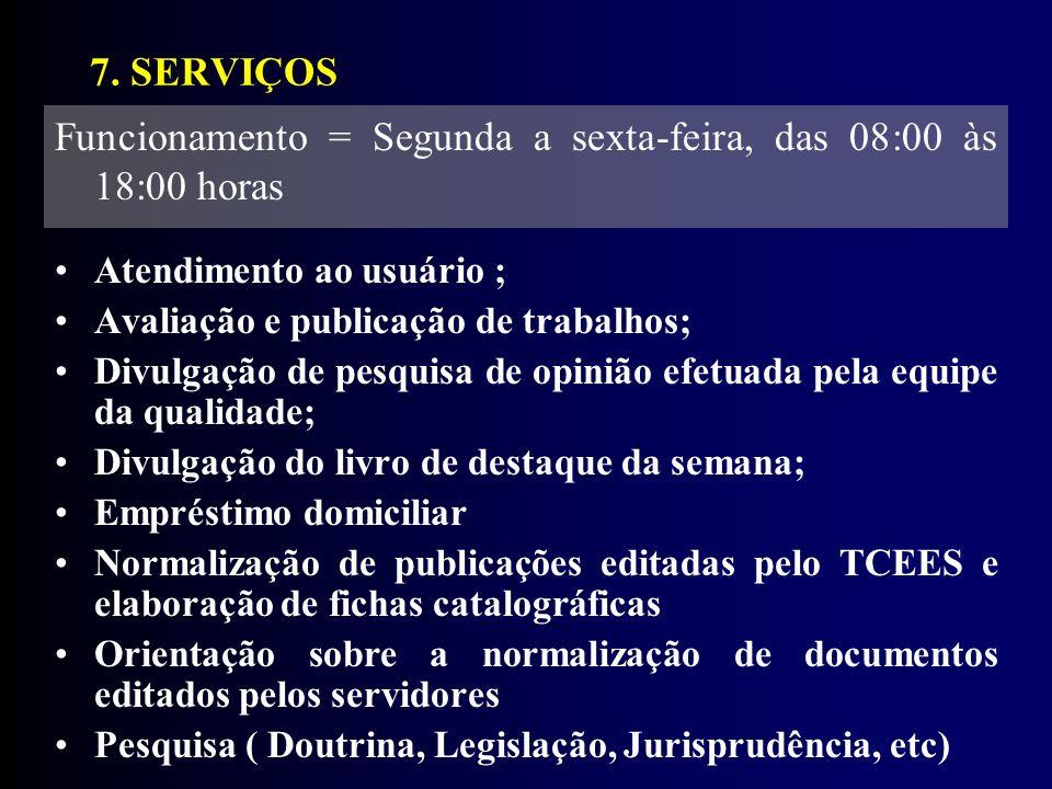 Funcionamento = Segunda a sexta-feira, das 08:00 às 18:00 horas