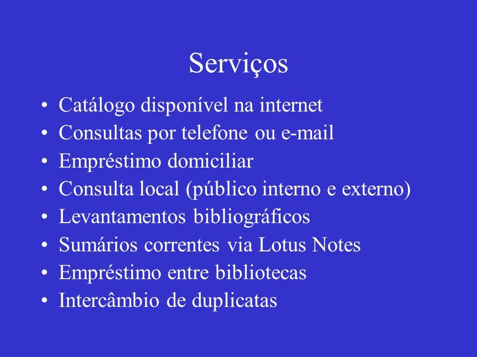 Serviços Catálogo disponível na internet