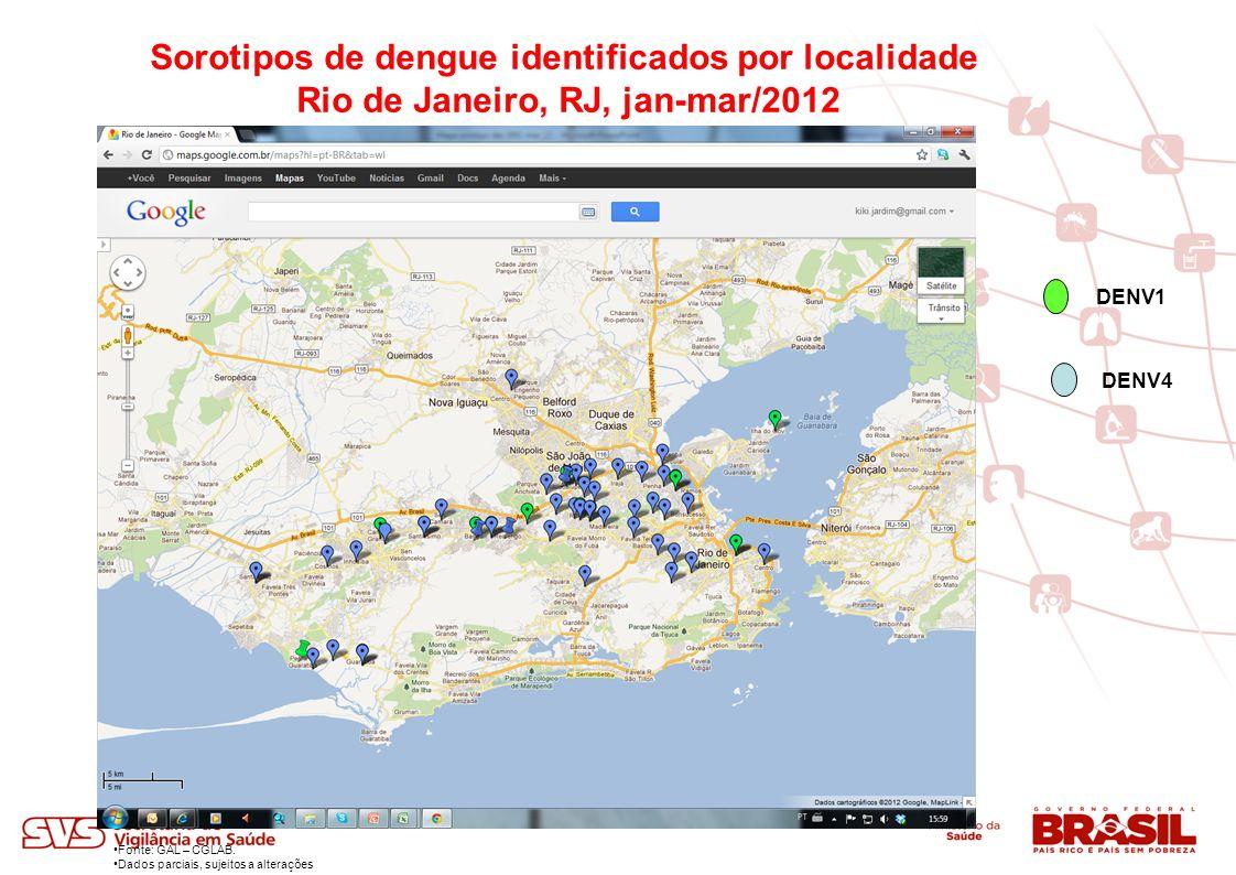 Sorotipos de dengue identificados por localidade