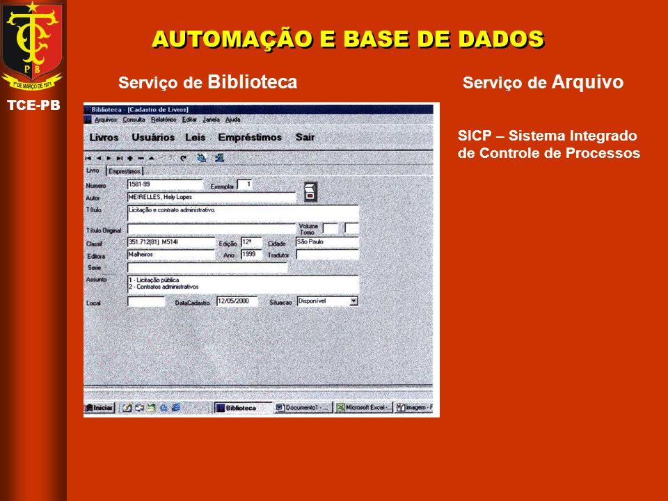 AUTOMAÇÃO E BASE DE DADOS