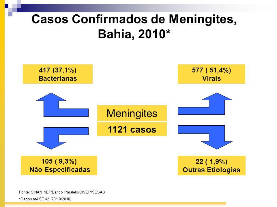 Casos Confirmados de Meningites, Bahia, 2010*