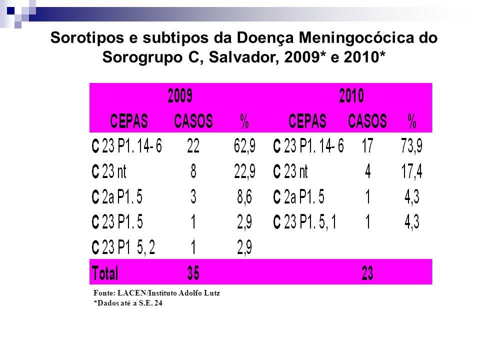 Sorotipos e subtipos da Doença Meningocócica do Sorogrupo C, Salvador, 2009* e 2010*