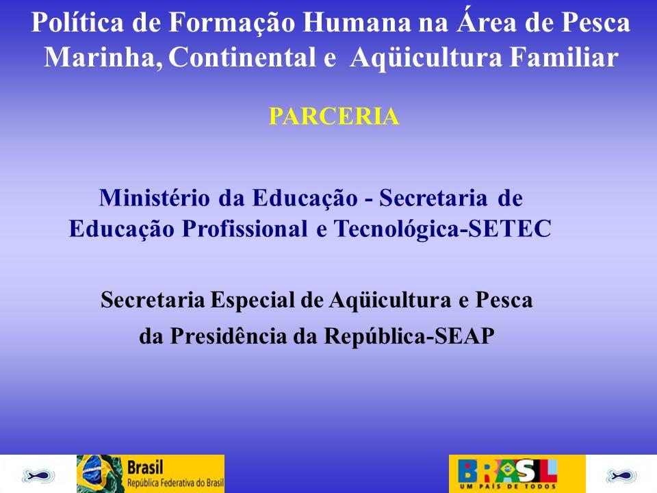 PARCERIA Ministério da Educação - Secretaria de Educação Profissional e Tecnológica-SETEC. Secretaria Especial de Aqüicultura e Pesca.