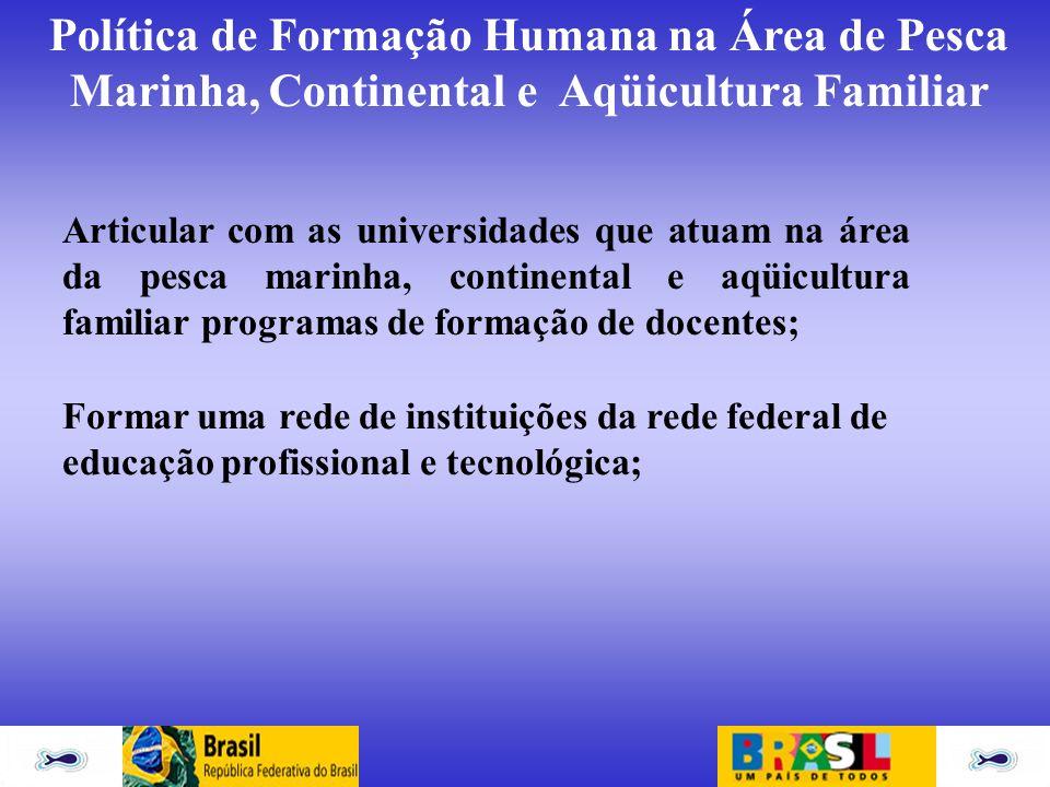Articular com as universidades que atuam na área da pesca marinha, continental e aqüicultura familiar programas de formação de docentes;