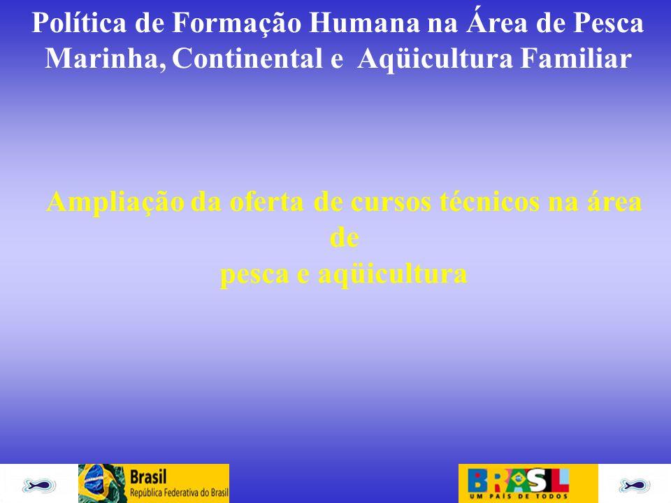 Ampliação da oferta de cursos técnicos na área de pesca e aqüicultura