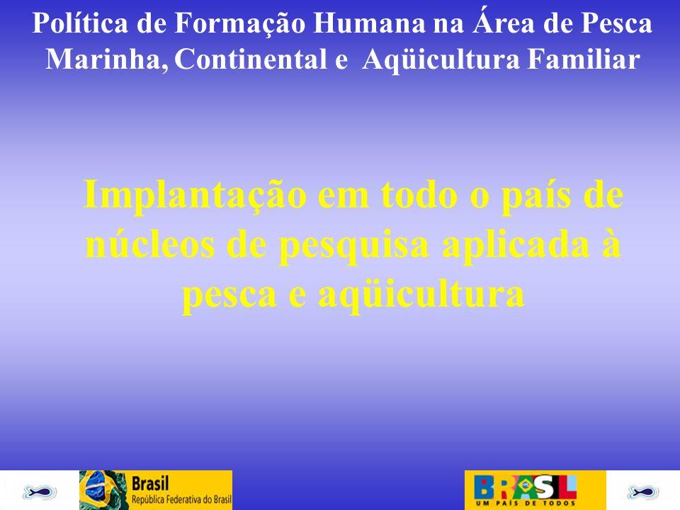 Implantação em todo o país de núcleos de pesquisa aplicada à pesca e aqüicultura
