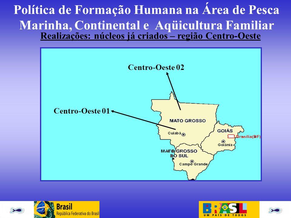 Realizações: núcleos já criados – região Centro-Oeste