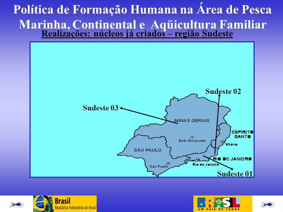 Realizações: núcleos já criados – região Sudeste