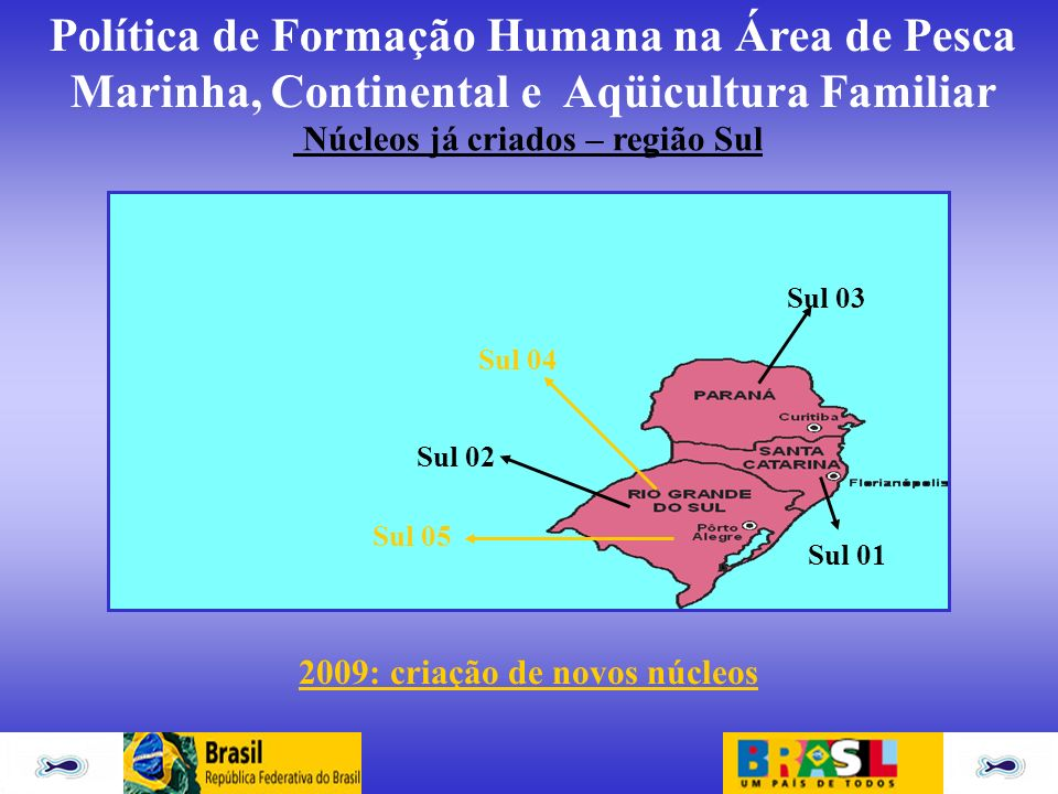 Núcleos já criados – região Sul 2009: criação de novos núcleos