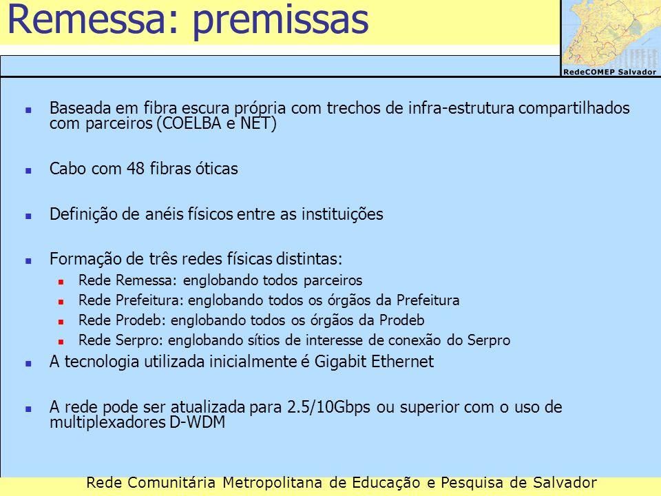 Remessa: premissas Baseada em fibra escura própria com trechos de infra-estrutura compartilhados com parceiros (COELBA e NET)