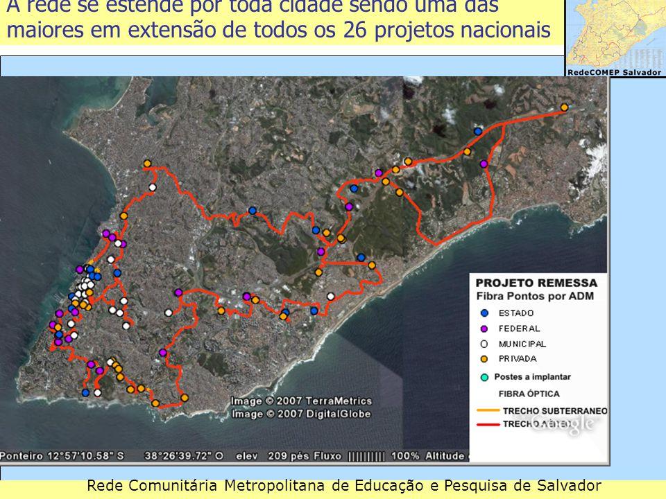 A rede se estende por toda cidade sendo uma das maiores em extensão de todos os 26 projetos nacionais