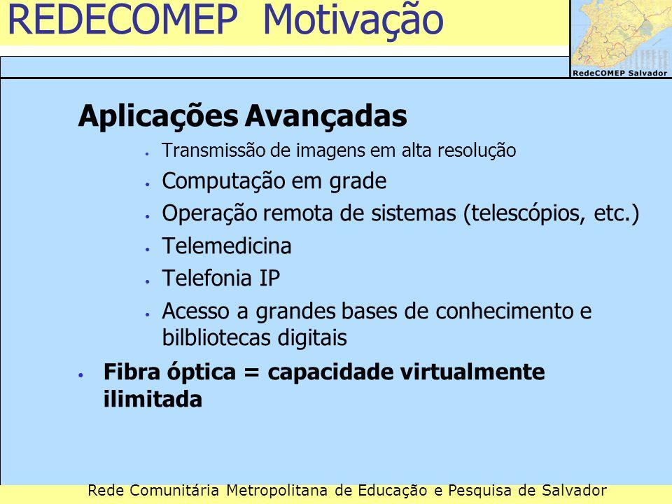 REDECOMEP Motivação Aplicações Avançadas Computação em grade