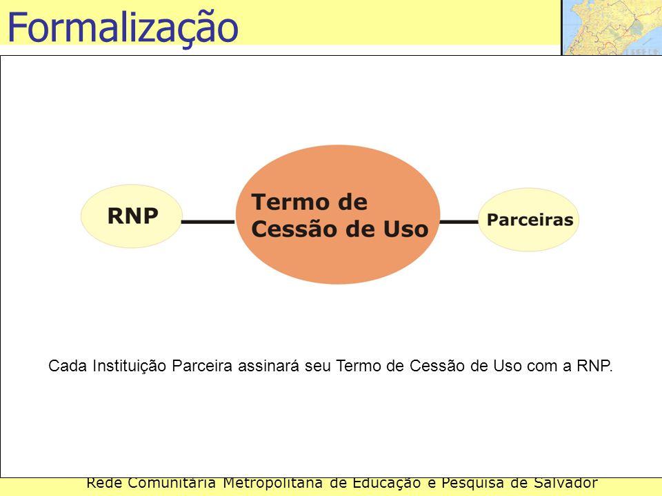 Formalização Cada Instituição Parceira assinará seu Termo de Cessão de Uso com a RNP.