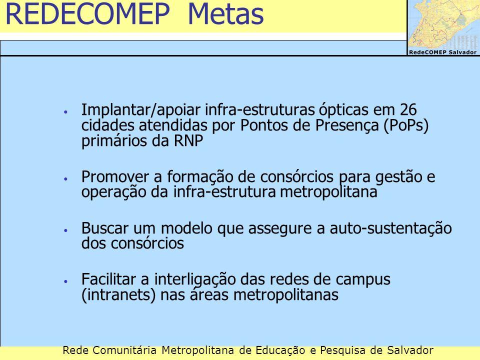 REDECOMEP Metas Implantar/apoiar infra-estruturas ópticas em 26 cidades atendidas por Pontos de Presença (PoPs) primários da RNP.