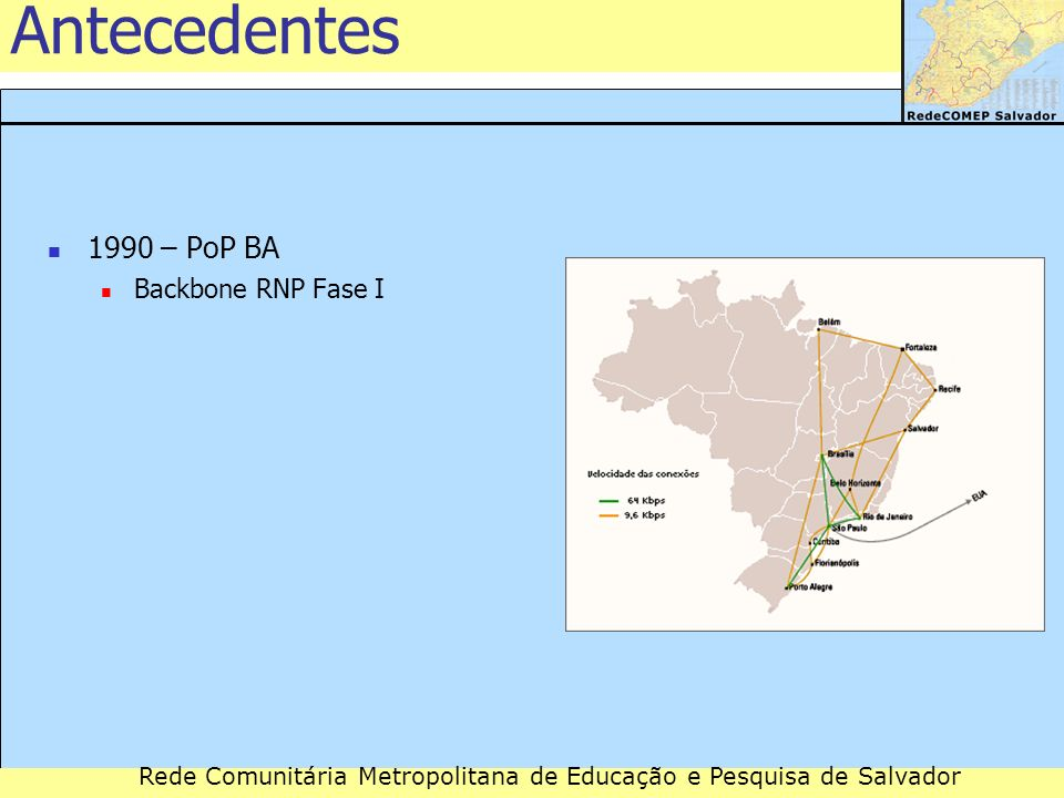 Antecedentes 1990 – PoP BA Backbone RNP Fase I