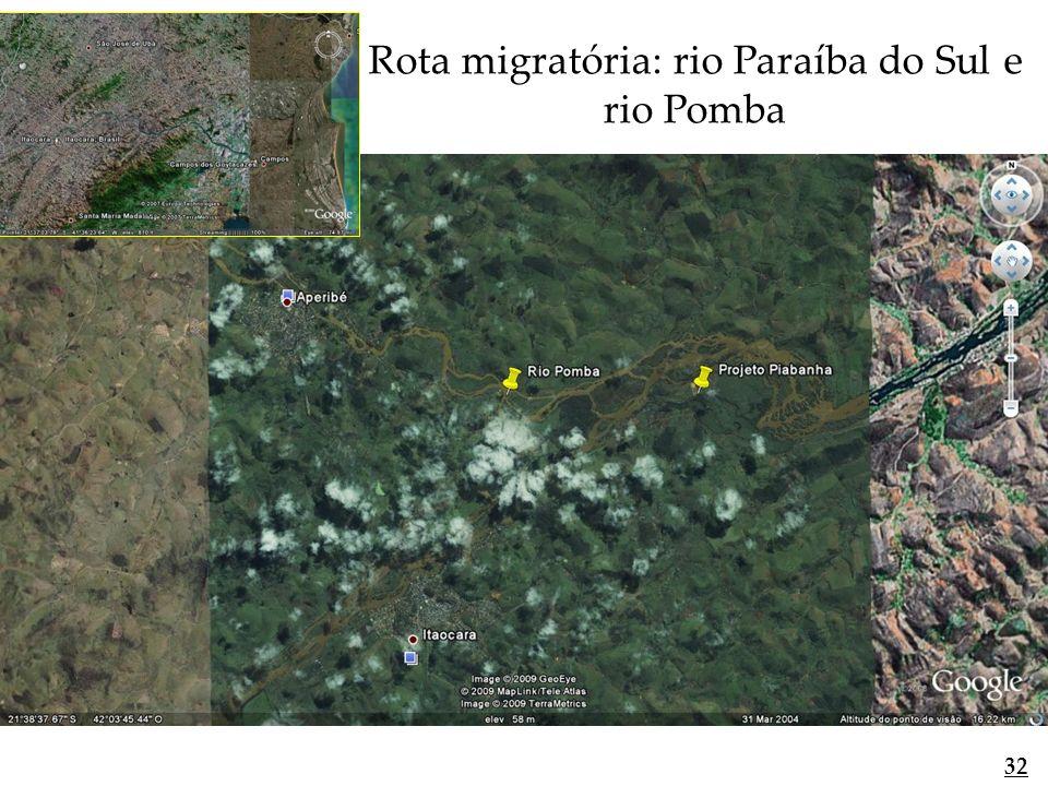 Rota migratória: rio Paraíba do Sul e rio Pomba