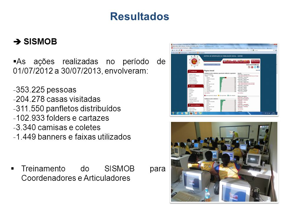 Resultados  SISMOB. As ações realizadas no período de 01/07/2012 a 30/07/2013, envolveram: 353.225 pessoas.