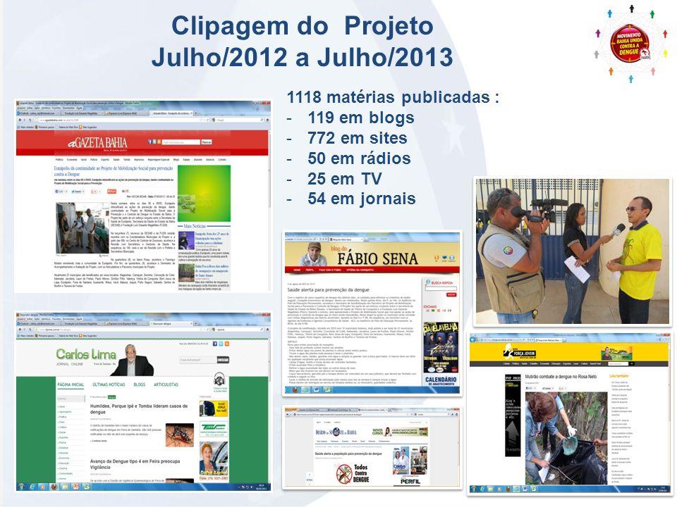 Clipagem do Projeto Julho/2012 a Julho/2013