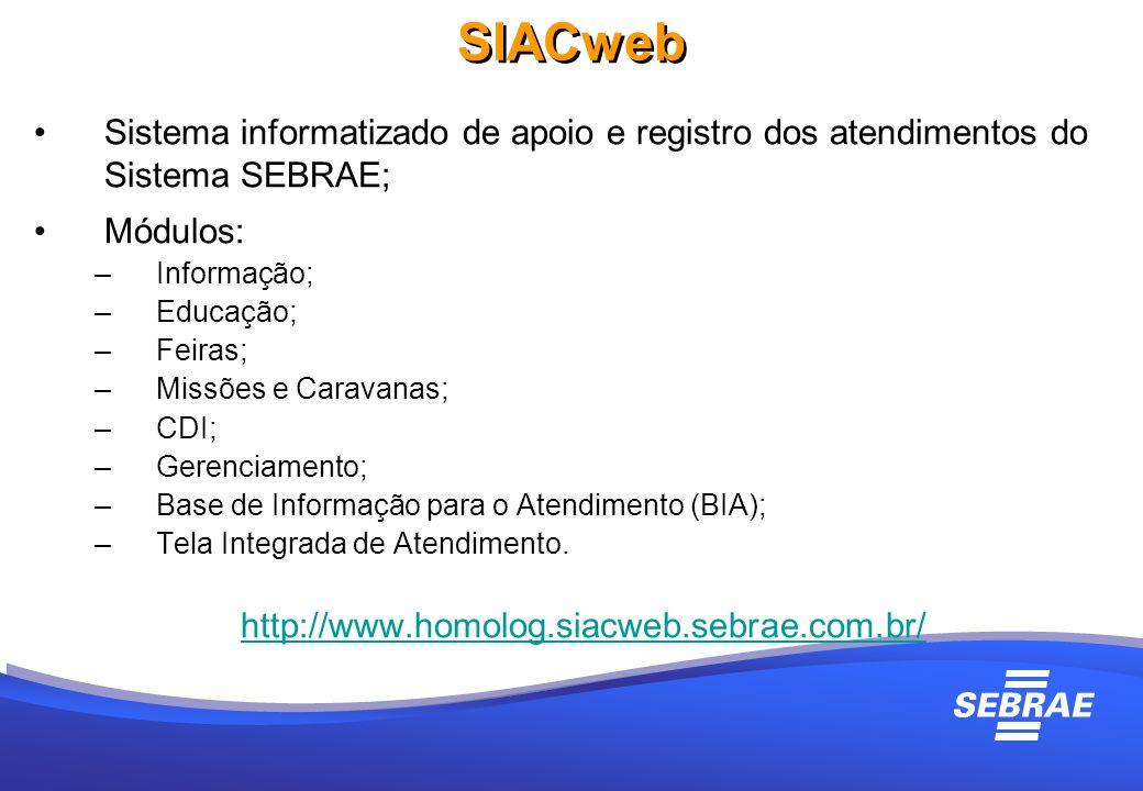 SIACweb Sistema informatizado de apoio e registro dos atendimentos do Sistema SEBRAE; Módulos: Informação;