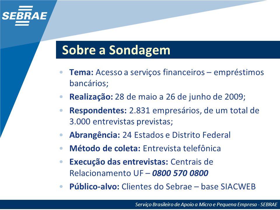 Sobre a SondagemTema: Acesso a serviços financeiros – empréstimos bancários; Realização: 28 de maio a 26 de junho de 2009;
