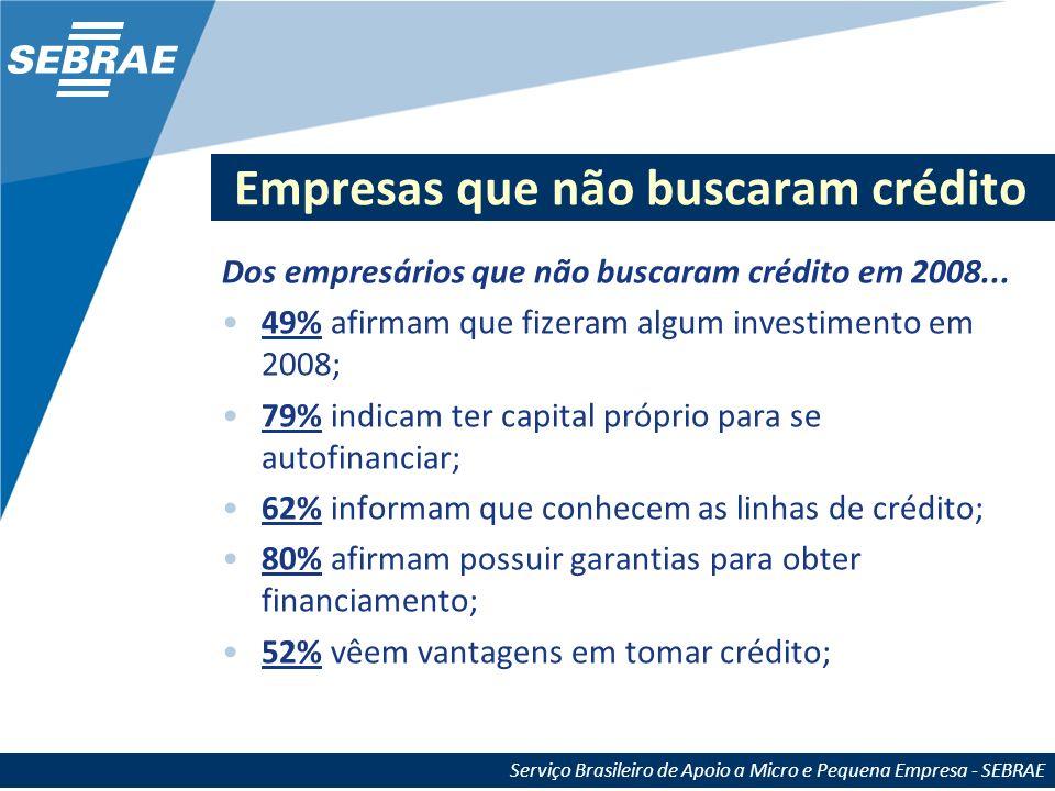 Empresas que não buscaram crédito