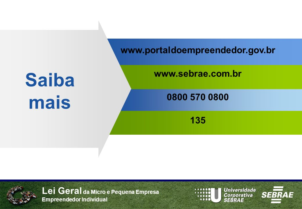 Saiba mais www.portaldoempreendedor.gov.br www.sebrae.com.br