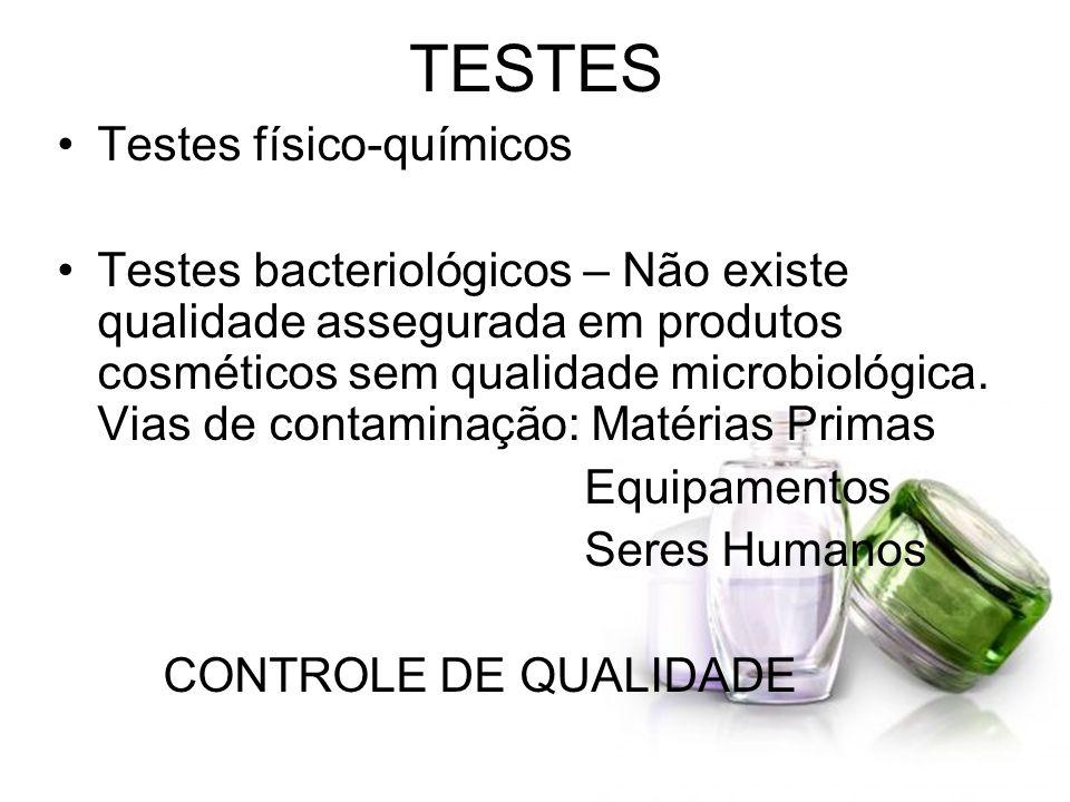 TESTES Testes físico-químicos