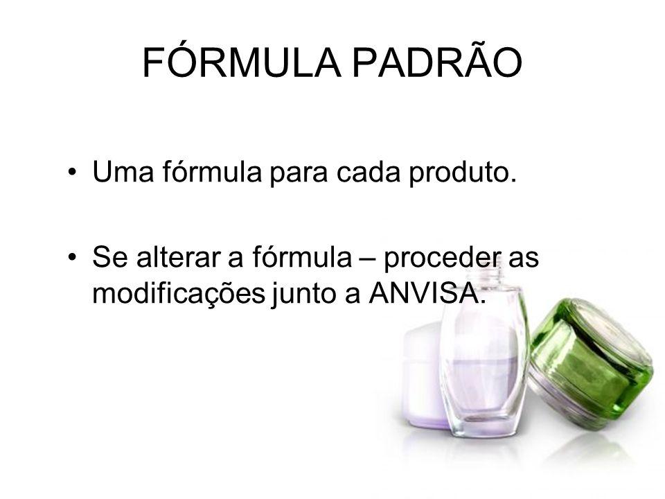 FÓRMULA PADRÃO Uma fórmula para cada produto.