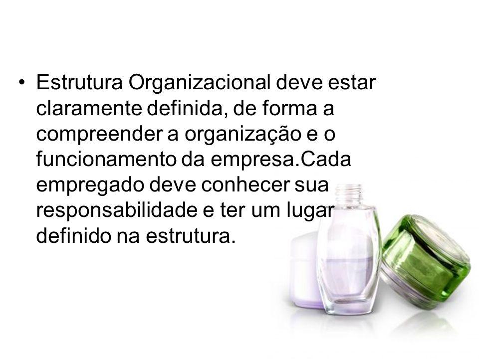Estrutura Organizacional deve estar claramente definida, de forma a compreender a organização e o funcionamento da empresa.Cada empregado deve conhecer sua responsabilidade e ter um lugar definido na estrutura.