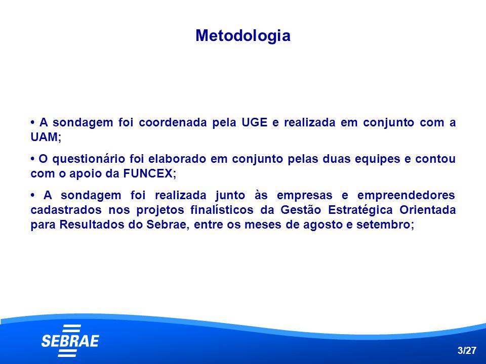 Metodologia • A sondagem foi coordenada pela UGE e realizada em conjunto com a UAM;
