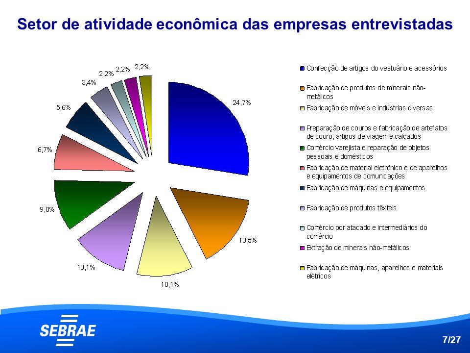 Setor de atividade econômica das empresas entrevistadas