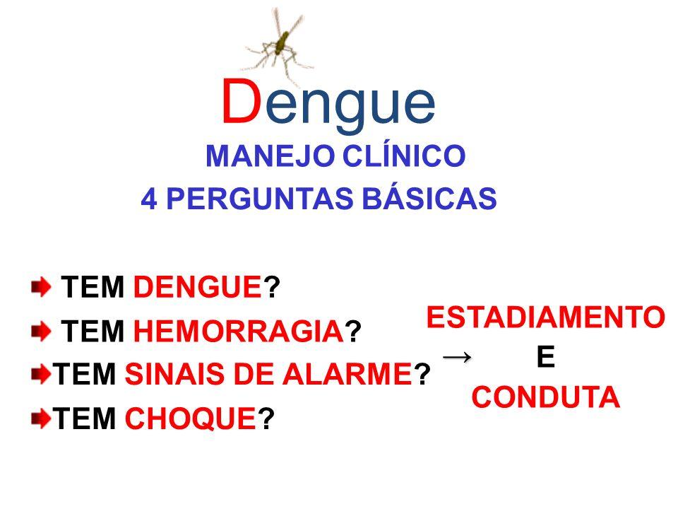 Dengue MANEJO CLÍNICO 4 PERGUNTAS BÁSICAS TEM DENGUE ESTADIAMENTO E