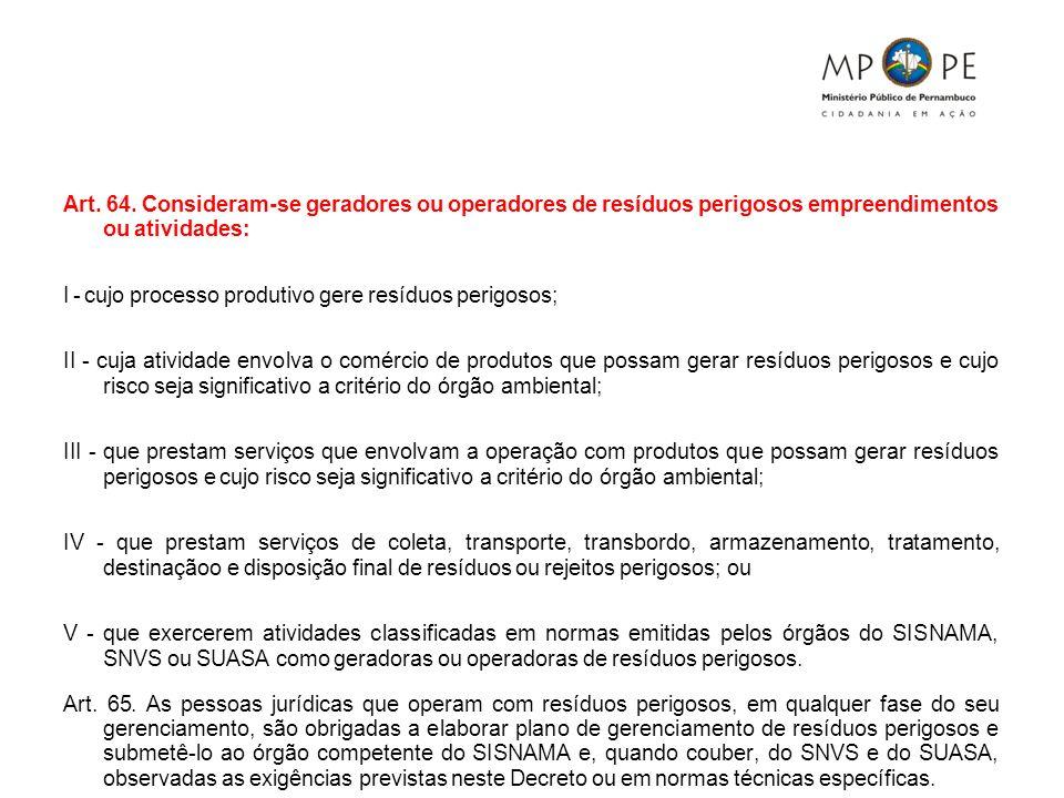 Art. 64. Consideram-se geradores ou operadores de resíduos perigosos empreendimentos ou atividades:
