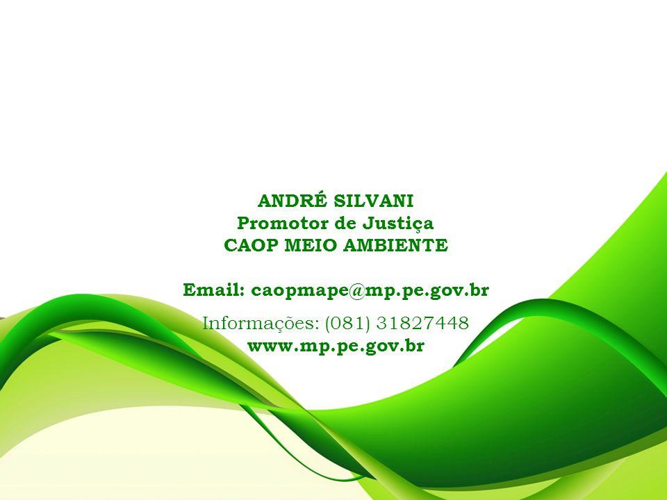 ANDRÉ SILVANI Promotor de Justiça. CAOP MEIO AMBIENTE. Email: caopmape@mp.pe.gov.br. Informações: (081) 31827448.