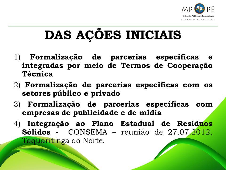 DAS AÇÕES INICIAIS 1) Formalização de parcerias específicas e integradas por meio de Termos de Cooperação Técnica.