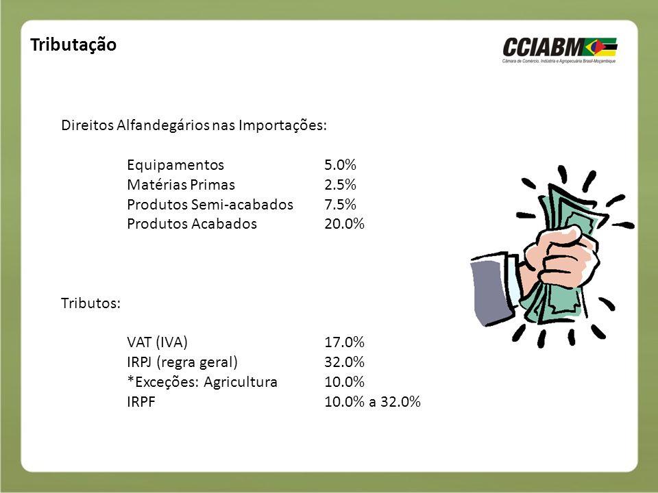 Tributação Direitos Alfandegários nas Importações: Equipamentos 5.0%