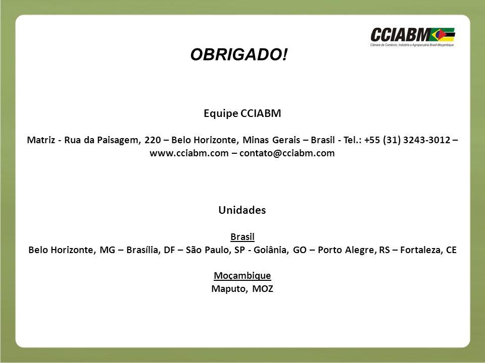 OBRIGADO! Equipe CCIABM Unidades
