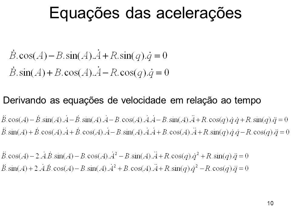 Equações das acelerações