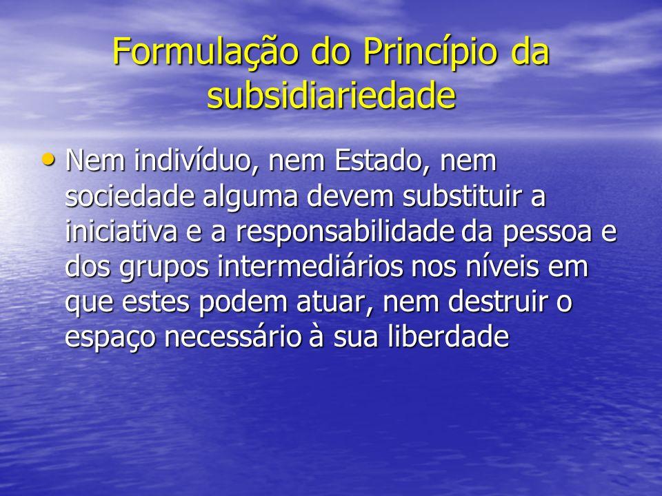 Formulação do Princípio da subsidiariedade