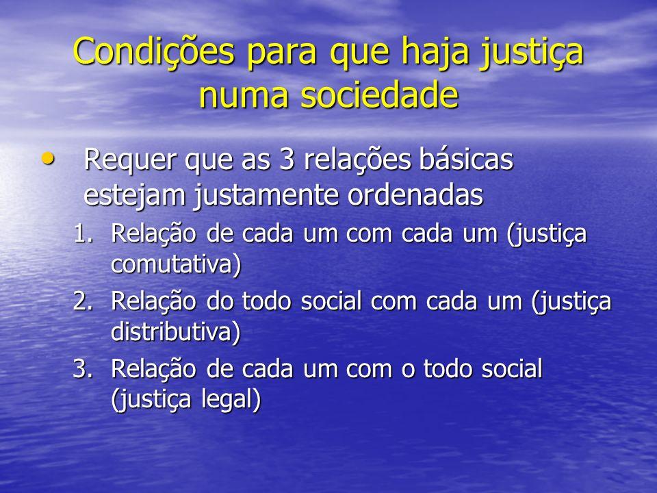 Condições para que haja justiça numa sociedade
